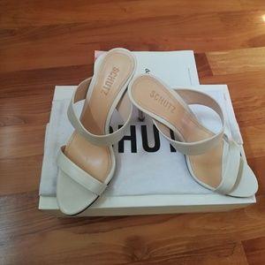 NIB Schutz Leia White Double Strap Dress Sandals